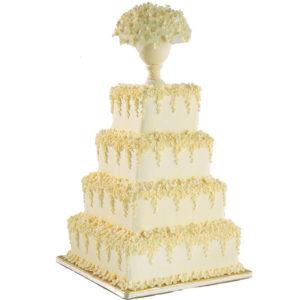 Торт свадебный квадратный четырехъярусный