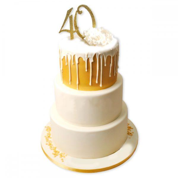 Торт на юбилей 40 лет трехъярусный